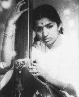 Lata Mangeshkar with tanpura