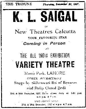 Advert for K. L. Saigal program